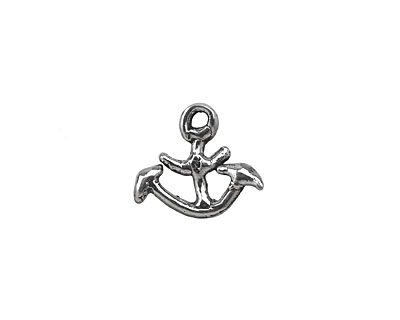 Rustic Charms Sterling Silver Anchor Charm 15x13mm