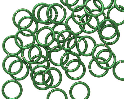 Green Enameled Copper Round Jump Ring 8mm, 18 gauge