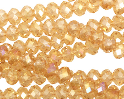 Light Topaz AB Crystal Faceted Rondelle 6mm