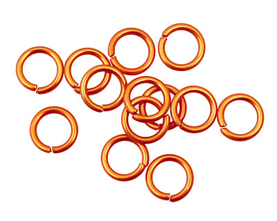 Orange Anodized Aluminum Jump Ring 7mm, 18 gauge (5mm inside diameter)