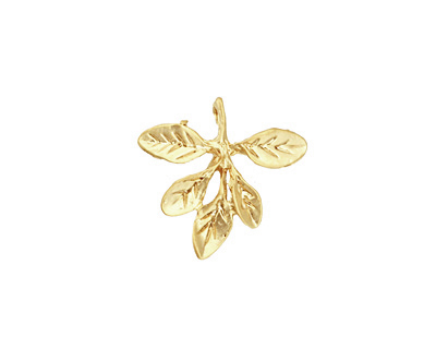 Ezel Findings Gold (plated) Barberry Leaves Pendant 17mm