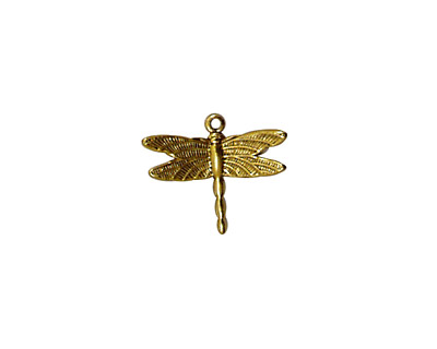 Stampt Antique Gold (plated) Dragonfly Charm 15x13mm