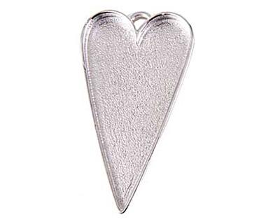 Nunn Design Sterling Silver (plated) Grande Heart Bezel Pendant 54x29mm