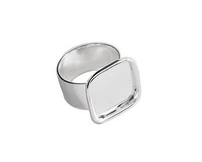 Nunn Design Sterling Silver (plated) Large Square Frame Adjustable Ring 18mm