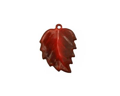 C-Koop Enameled Metal Medium Red Leaf 15x20mm