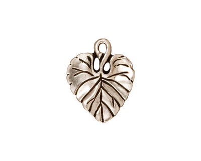 TierraCast Antique Silver (plated) Violet Leaf Charm 15x18mm