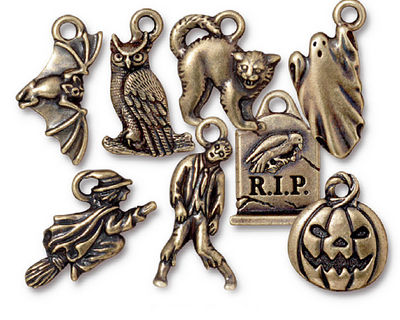TierraCast Antique Brass (plated) Halloween Charm Set