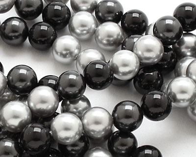 Grayscale Shell Pearl Mix Round 8mm
