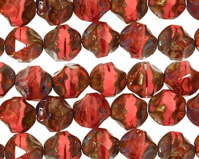 Czech Glass Pink Silk Quartz Picasso Chandelier Cut 8mm