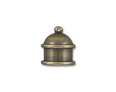 TierraCast Antique Brass (plated) Pagoda 10mm Cord End 15.5x14mm