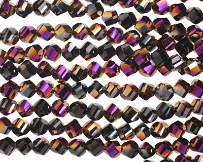 Metallic Gold Raspberry & Jet Twisted Crystal 4-5mm