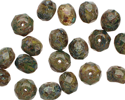 Czech Glass Troubled Waters Fire Polished Rondelle 6x8mm
