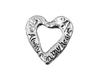 Rustic Charms Sterling Silver Always in My Heart Charm 29mm