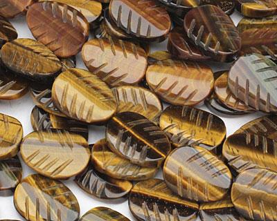 Tiger Eye Carved Leaf 18-20x13-15mm