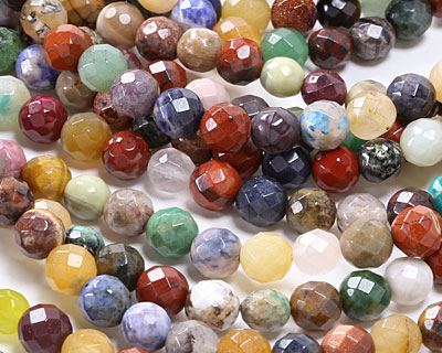 Earth Tones Gemstone Mix Faceted Round 8mm