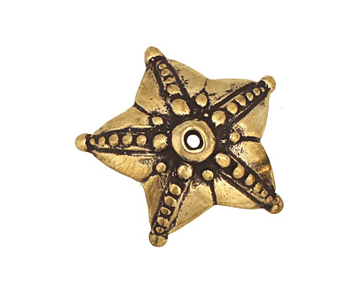 Green Girl Bronze Star Bead Cap 9x25mm