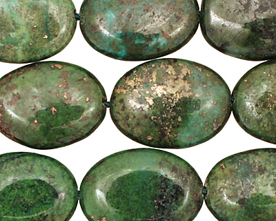 Green Chalcopyrite Flat Oval 20x15mm