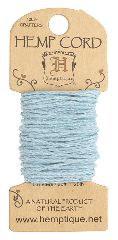 Light Blue Hemp Twine 20 lb, 20 ft