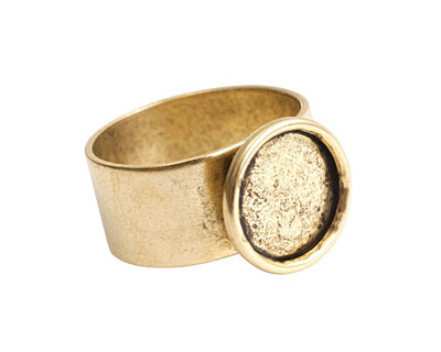Nunn Design Antique Gold (plated) Small Circle Frame Adjustable Ring 13mm