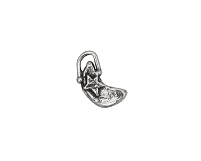 Rustic Charms Sterling Silver Little Moon w/ Star Charm 8x14mm