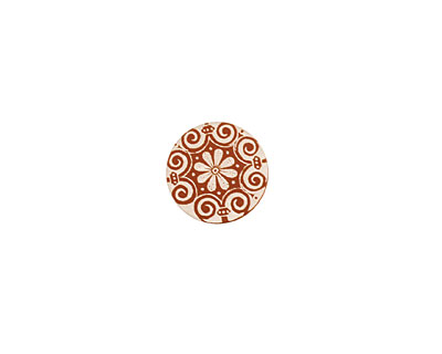 Lillypilly Bronze Scrolling Daisy Anodized Aluminum Disc 15mm, 24 gauge