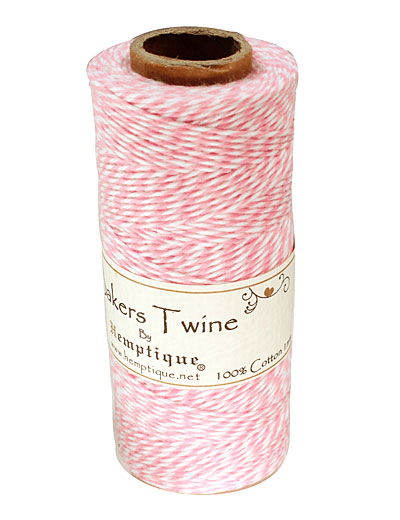 Light Pink/White Bakers Twine 2 ply, 410 ft
