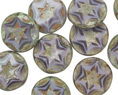 Czech Glass Lilac Starflower Coin w/ Scalloped Edge 15mm