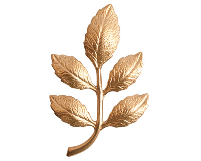 Nunn Design Brass Alder Leaves Embellishment 31x51mm