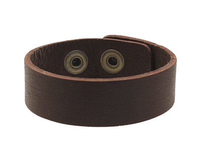 Red Brown Leather Cuff Bracelet 7/8
