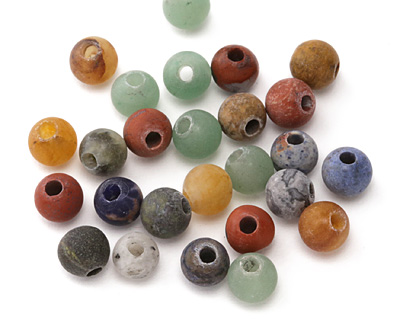 Matte Multi Gemstone (Sodalite, Tiger Eye, Red Jasper, Aventurine) Round (Large Hole) 8mm