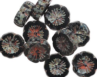 Czech Glass Dark Garden Flower 15mm