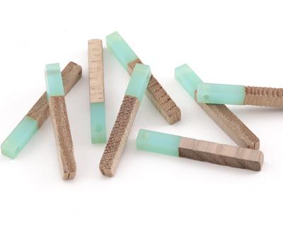 Wood & Sea Green Resin Stick Drop 3.5x30mm