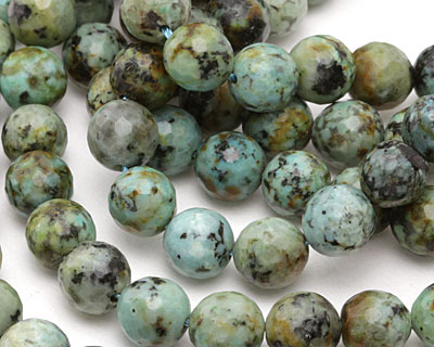 African Turquoise Faceted Round 10mm