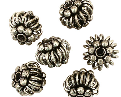 Antique Silver (plated) Hollow Coiled Rondelle with Beads 10x14mm