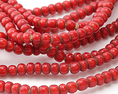 African Trade Beads Red White Heart Glass 4-5x6-7mm