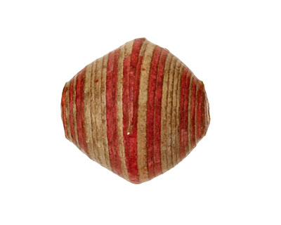 African Paper (red, beige) Bicone 25x22-23mm