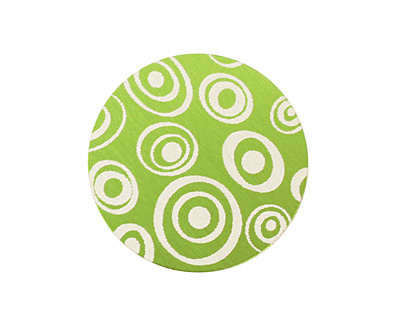 Lillypilly Lime Green Groovy Circles Anodized Aluminum Disc 25mm, 24 gauge