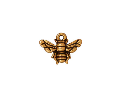 TierraCast Antique Gold (plated) Honey Bee Charm 15x12mm
