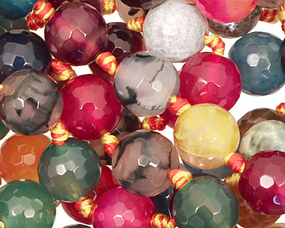 Multi-Color Fire Agate (bright) Faceted Round 12mm