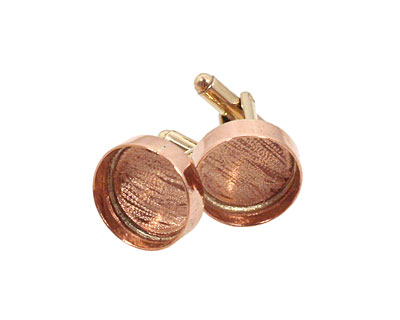 Copper Circle Bezel Cuff Link 17mm