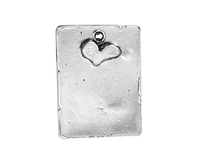Rustic Charms Sterling Silver Heart Blank 19x26mm