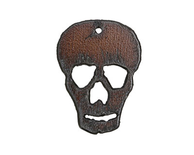 The Lipstick Ranch Rusted Iron Skull Pendant 30x41mm