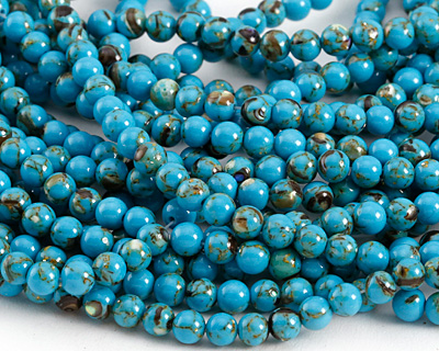 Turquoise Mosaic Shell Round 4mm