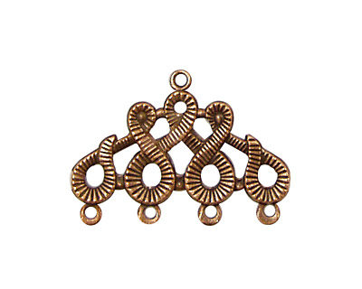 Stampt Antique Copper (plated) Scrolling 4 Ring Connector 28x20mm