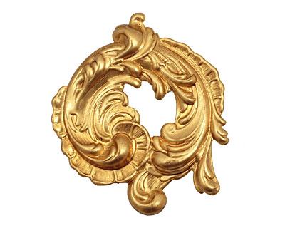 Brass Paisley Swirl Pendant 44mm