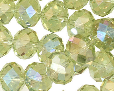 Green Tea AB Crystal Faceted Rondelle 14mm