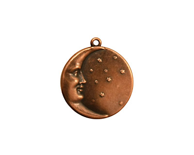 Stampt Antique Copper (plated) Man in the Moon Charm 17x19mm