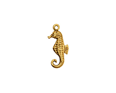 Stampt Antique Gold (plated) Seahorse Charm 7.5x17mm