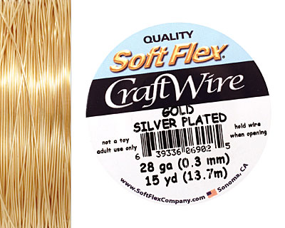 Soft Flex Silver Plated Gold Craft Wire 28 gauge, 15 yards