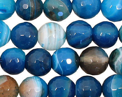 Sky Blue Line Agate Faceted Round 10mm